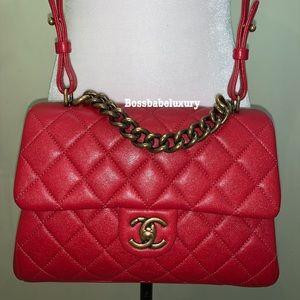 💯 auth Chanel trapezio flap medium ghw limited ed